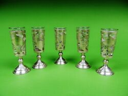 Lot Of 5 Vintage Mexican Sterling Silver Holder With Glass Inserts 3 5/8 Tall