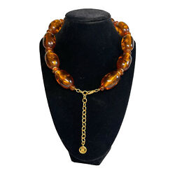 Vtg. Authentic Givenchy Amber Lucite Beaded Collar Necklace