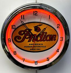 16 Indian Motorcycle Since 1901 Old Sign Red Neon Clock