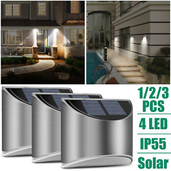 4-led Solar Wall Lights Outdoor Garden Yard Gutter Fence Stairs Waterproof Lamps