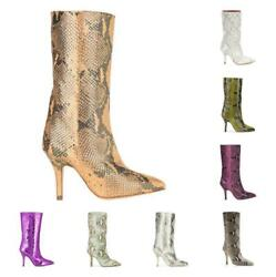 Sexy Women Snakeskin Print Mid Calf Boots Pointed High Heel Casual Club 34-43 L