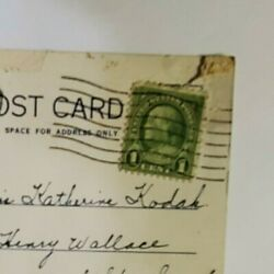 Antique Franklin Green Series 1 Cent Stamp On Post Card Postmarked 8/13/1934