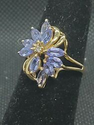 Estate Jewelry 14k Gold Iolite Diamond Waterfall Statement Engagement Party Ring