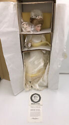 Franklin Mint Heirloom Doll Gibson Girl Bride With Bouquet Coa Colored Eyes Nib