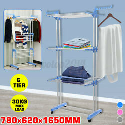 3tier Clothes Drying Rack Tower Stainless Steel Mobile Portable Folding