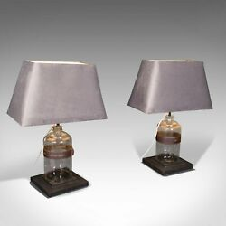 Pair Of, Antique Jar Lamps, English, Glass, Slate, Side Light, Victorian, C.1900