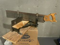 Vintage Stanley Miter Box 2246 And Saw Carpentry Woodworking Great Condition