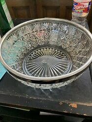 Large Vintage Crystal Bowl W Silver Plate Rim Made In England