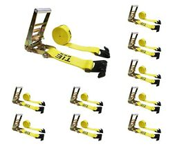 10 Pack 3 X 30and039 Ratchet Strap W/flat Hooks Flatbed Truck Trailer Tie Down Strap