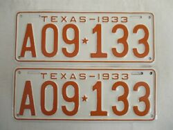 Pair 1933 Texas License Plate Tag Show Car Ready And Clear Great Number