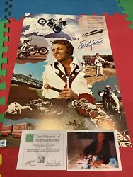Autographed Evel Knievel Signed 16x25 Poster Daredevil Ssg Coa Photo Proof