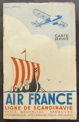 Rare Air France Pamphlet 1936 W/ Huge Folding Color Map Of The Route Scandinavia