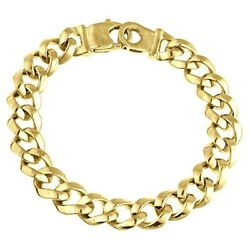 Menand039s Open Curb Cuban Link Bracelet 14k Solid Yellow Gold Handmade 41 Gr 10.8 Mm