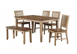 Sunset Trading Brook Dining Table Set Distressed Two Tone Light Creamy Wheat
