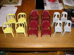 12 Vintage Plastic Outdoor Chairs Salesman Sample/doll House Furniture