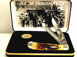 Case Xx Colt.45 Peacemaker Amber Bone Trapper Knife Gold Color Etch/display New