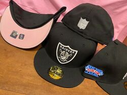 Raiders New Era Pink Bottom Visor 59fifty Fitted Sb Xviii Patch Vegas Exclusive
