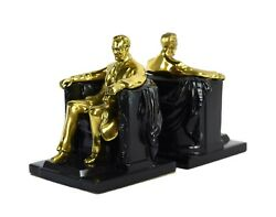 Vintage Metal Sculptural Bookends Lincoln In Chair After Daniel Chester French