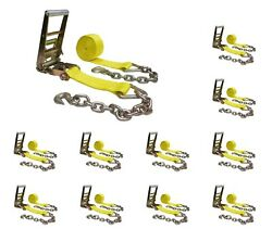 10pack 3x30' Ratchet Tie Down Strap W/chain Extension For Flatbed Truck Trailer