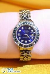 Rolex Oyster Perpetual Datejust Watch Stainless Steel W/diamonds Sapphires