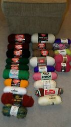 Huge Lot Of 24 Skeins Of Yarn, Red Heart, Caron, I Love This Yarn, Etc