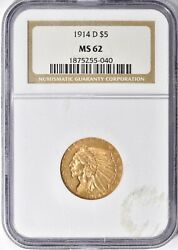 1914-d Indian Head Half Eagle 5 Gold Ngc Ms62