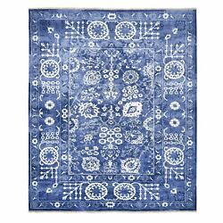 8and0391x9and03910 Denim Blue Wool And Silk Hand Knotted Tone On Tone Tebraz Rug G62955