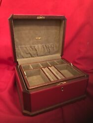 Mark Cross Original One Of A Kind Red Large Leatherandwood Jewelry Box Perfection