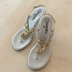 Unused Sandals Mules Women 23.5cm 37 Size White Color With Storage Bags