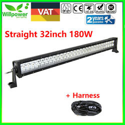 32inch 180w Led Work Light Bar Spot Flood Combo For 4wd Boat Ute Suv Jeep Truck