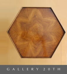 Marquetry Rosewood Brandt Hexagon Side Table Atomic Cocktail Wood Vtg Retro