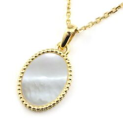 Auth And Necklace Sweet Medal Oval White Shell 750yg