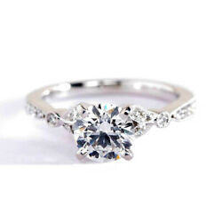1.10 Cts Si2 F Vintage Style Round Cut Diamond Engagement Ring 18k White Gold