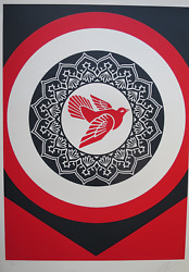 Shepard Fairey Obey - Rise From The Ashes Red 2020 - Sandeacuterigraphie Signandeacutee Au