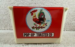 Vintage Wolverine Pop Up Toaster Tin Toy With Rooster Red Made In Usa