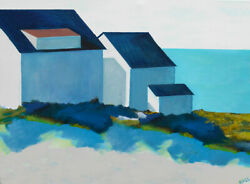 Mid Century Modern Provincetown Cape Cod Original Oil Painting Wass 4ft Large