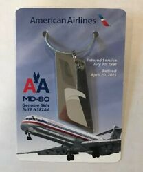 American Airlines Md80 Genuine Skin Tail582 June 1991-april 2015 Keychain