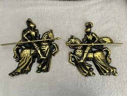 """Vintage Pair 10"""" Tall Brass Medieval Knights Armor + Horses Weapons Wall Hanging"""