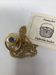 Nantucket Lightship Basket Pendant Necklace-gold Tone/pewter Charming Collection