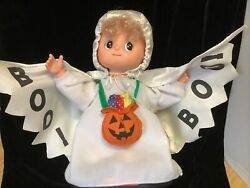 Vtg 1994 Telco Small Fry Animated Halloween Display Ghost Doll Arms Move