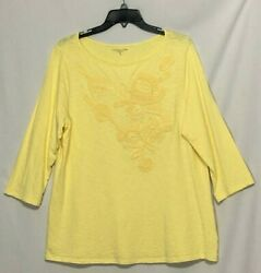 Coldwater Creek Size Xl Solid Marled Yellow 3/4 Sleeve Cotton Tunic Style Top