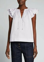 New 225 Ulla Johnson Elia Flutter Sleeves Top Color Thistle