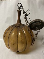 Vintage Ceiling Fixture Crackle Caged Amber Glass Light Shade