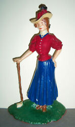 Vintage '80s Woman Golfing Cast Iron Doorstop Bookend Victorian Female Golf Club
