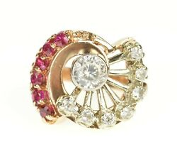 14k 1930's Syn. Ruby Cz Fanned Two Tone Cocktail Ring Size 4 Rose Gold 73