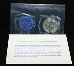 1972 Eisenhower Uncirculated Silver Dollar In Original Government Packaging C