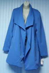 Nwt Roz And Ali Blue Lined Open Stretch Long Sleeve 3/4 Coat With Pockets Xl
