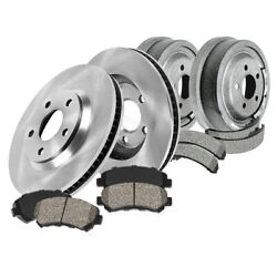 Front Brake Rotors + Ceramic Pads And Rear Drums + Shoes For Cherokee Wrangler