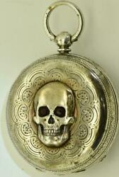 Victorian Memento Mori Silver Skull Pocket Watch By John Laquilondon C1870and039s