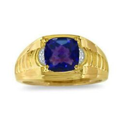Natural Amethyst Gemstone With Gold Plated 925 Sterling Silver Menand039s Ring Aj194